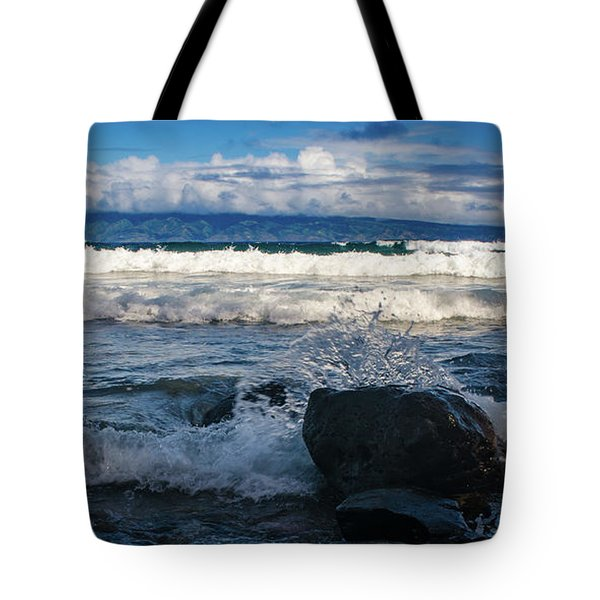 Maui Breakers Pano Tote Bag