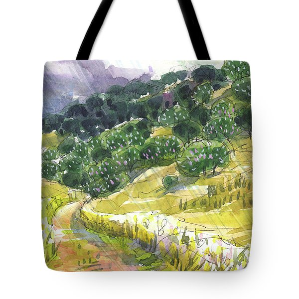 Tote Bag featuring the painting May Rain by Judith Kunzle