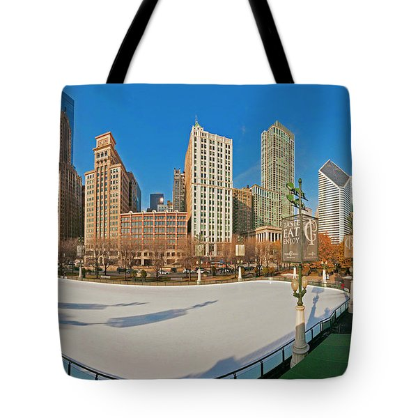 Mccormick Tribune Plaza Ice Rink And Skyline   Tote Bag