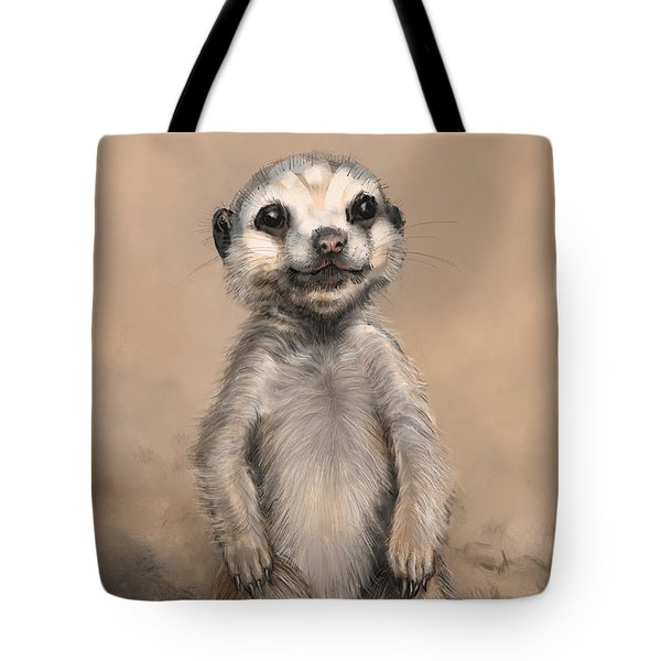 Tote Bag featuring the digital art Meercat by Lora Serra