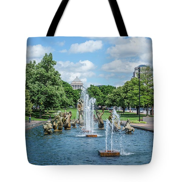 Meeting Of The Waters Fountain Tote Bag