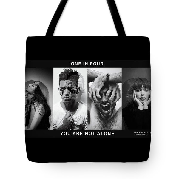 Tote Bag featuring the digital art Mental Health Awareness - You Are Not Alone by ISAW Company