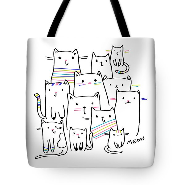 Meow Kitties - Baby Room Nursery Art Poster Print Tote Bag