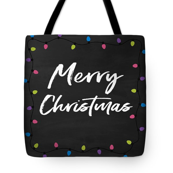 Tote Bag featuring the digital art Merry Christmas Lights 2- Art By Linda Woods by Linda Woods