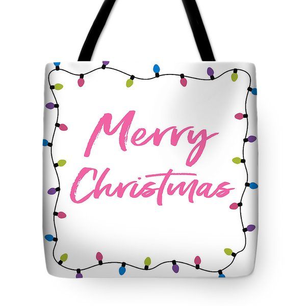 Tote Bag featuring the digital art Merry Christmas Lights- Art By Linda Woods by Linda Woods