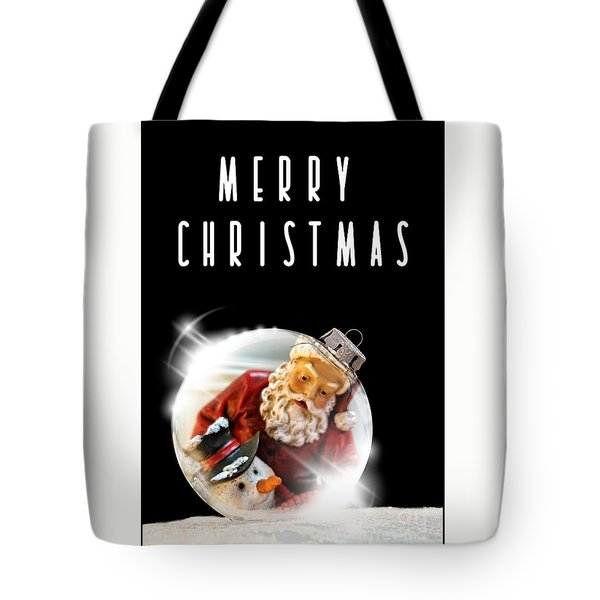 Tote Bag featuring the mixed media Merry Christmas Santa And Snow by Rachel Hannah