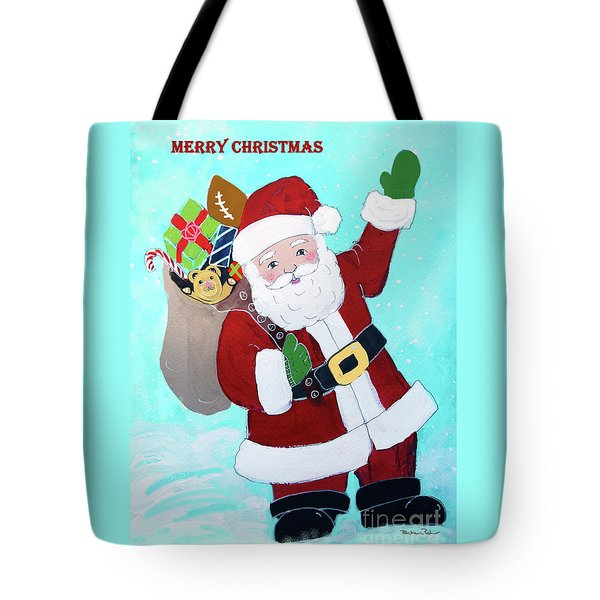Tote Bag featuring the painting Merry Christmas Santa With Toy Sack by Robin Maria Pedrero