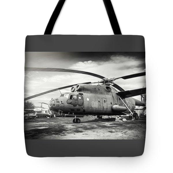 Mi-6 Helicopter Riga Latvia Black And White Tote Bag