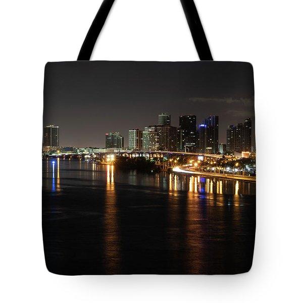 Miami Lights At Night Tote Bag
