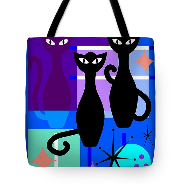 Mid Century Modern Abstract Mcm Bowling Alley Cats 20190113 M180 Tote Bag