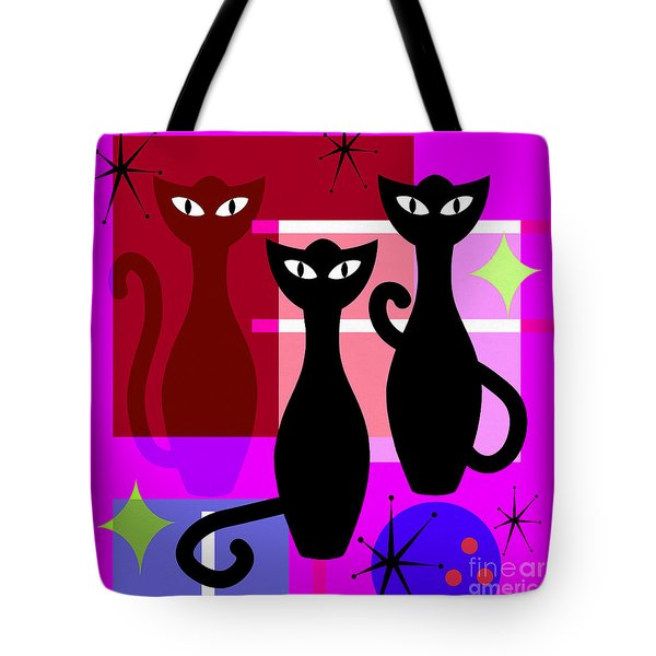 Mid Century Modern Abstract Mcm Bowling Alley Cats 20190113 Square M103 Tote Bag