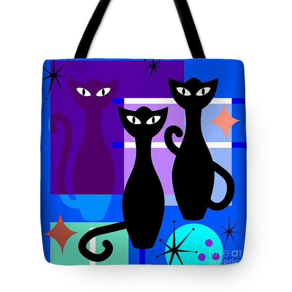 Mid Century Modern Abstract Mcm Bowling Alley Cats 20190113 Square M180 Tote Bag
