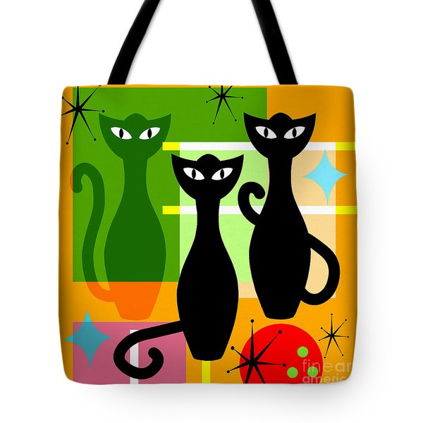 Mid Century Modern Abstract Mcm Bowling Alley Cats 20190113 Square Tote Bag