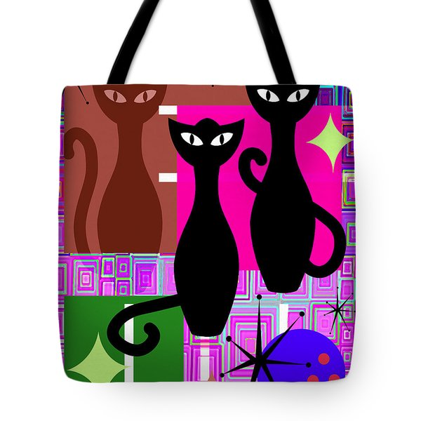 Mid Century Modern Abstract Mcm Bowling Alley Cats 20190113 V2m103 Tote Bag