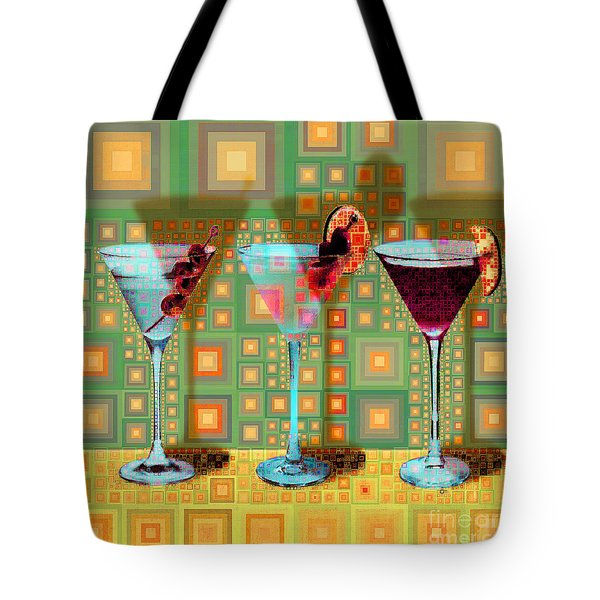 Mid Century Modern Abstract Mcm Three Martinis Shaken Not Stirred 20190127 V1 Square Tote Bag
