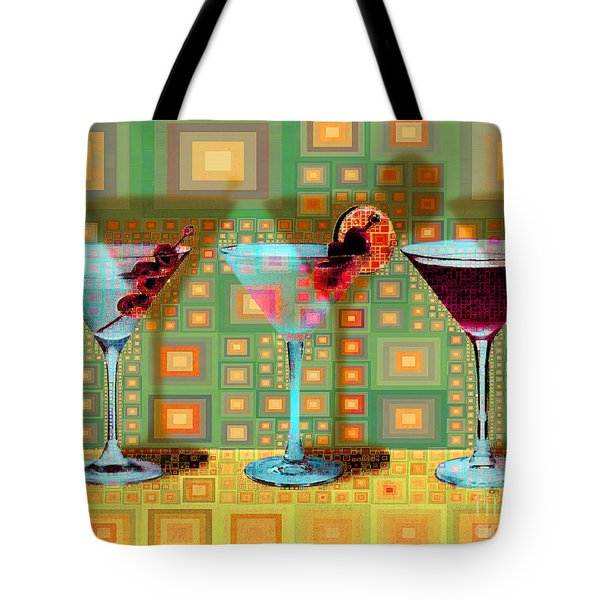 Mid Century Modern Abstract Mcm Three Martinis Shaken Not Stirred 20190127 V1a Tote Bag