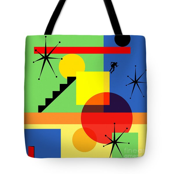 Mid Century Modern Abstract Over The Edge 20190106 Square Tote Bag