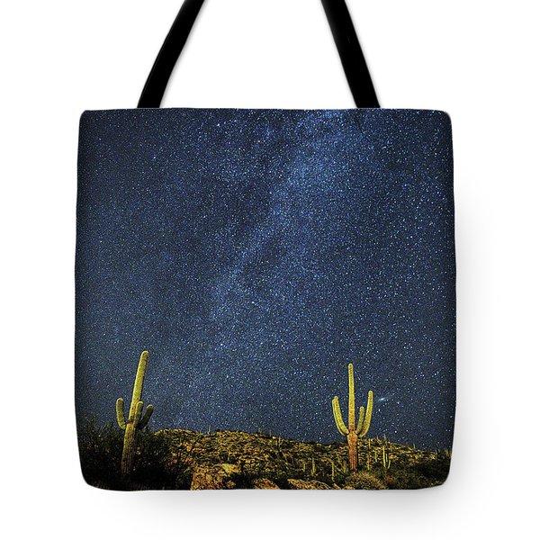 Milky Way And Cactus Tote Bag