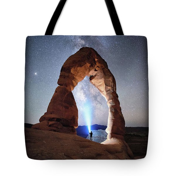 Tote Bag featuring the photograph Milky Way Night Sky In Moab Arches National Park \ by OLena Art Brand