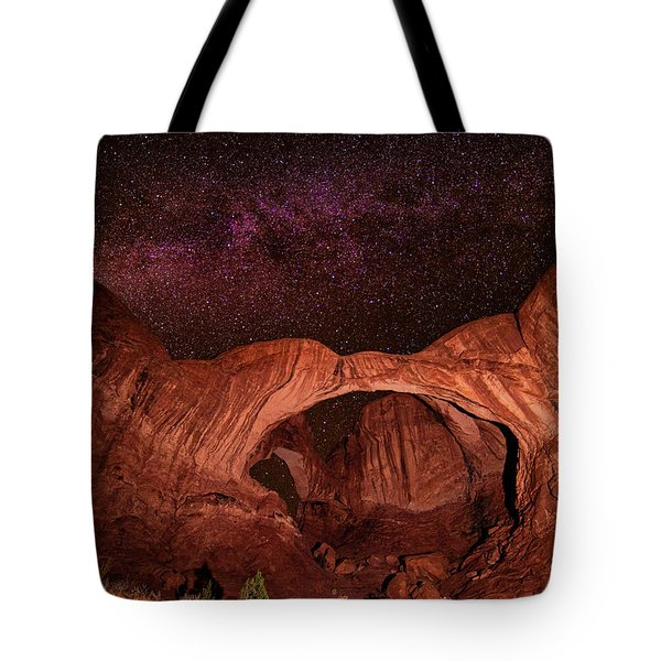 Tote Bag featuring the photograph Milky Way Over Double Arch by Andy Crawford