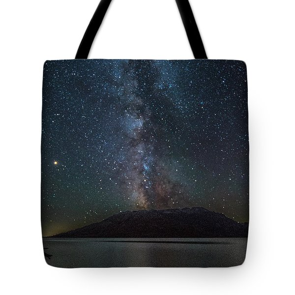 Tote Bag featuring the photograph Milky Way Over Jackson Lake by Matthew Irvin