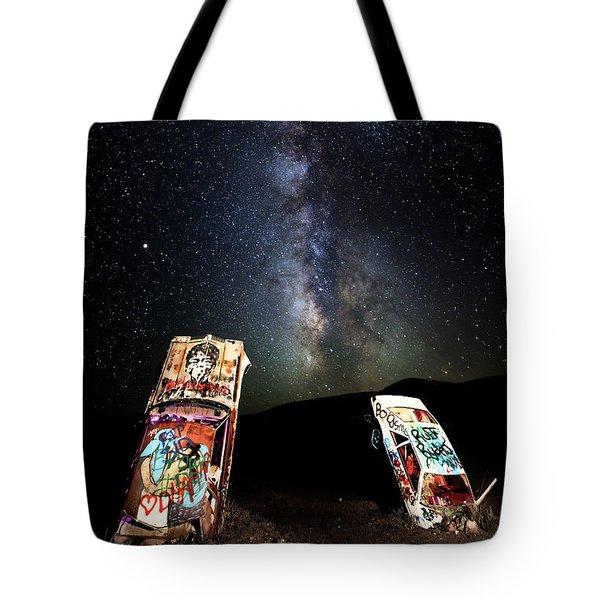 Milky Way Over Mojave Desert Graffiti 1 Tote Bag
