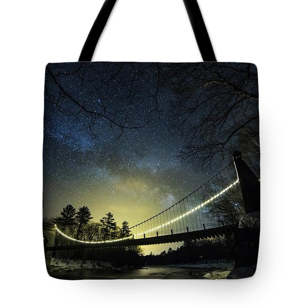 Milky Way Over The Wire Bridge Tote Bag
