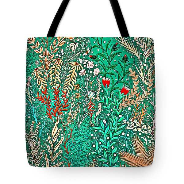 Millefleurs Home Decor Design In Brilliant Green And Light Oranges With Leaves And Flowers Tote Bag