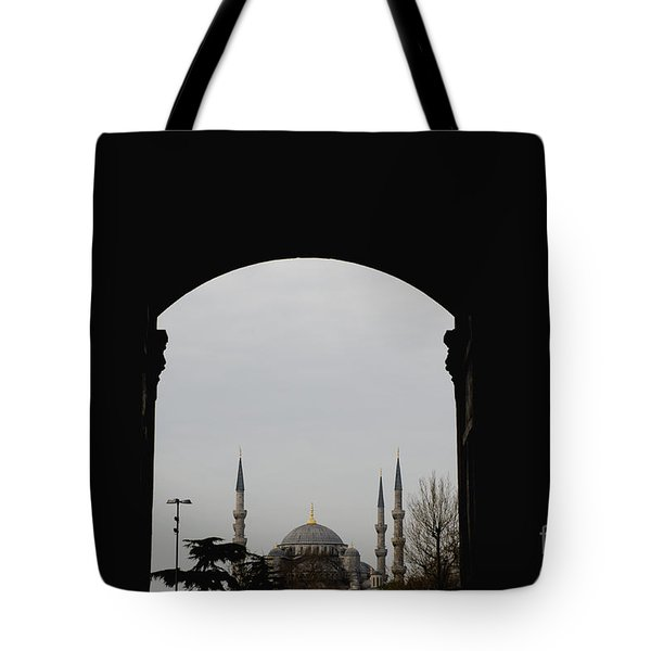 minarets in the city for the prayer of the Muslim religion Tote Bag