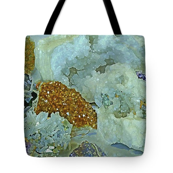 Tote Bag featuring the mixed media Mineral Medley 12 by Lynda Lehmann