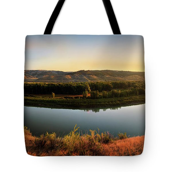 Tote Bag featuring the photograph Missouri River Sunrise Panoramic by Leland D Howard