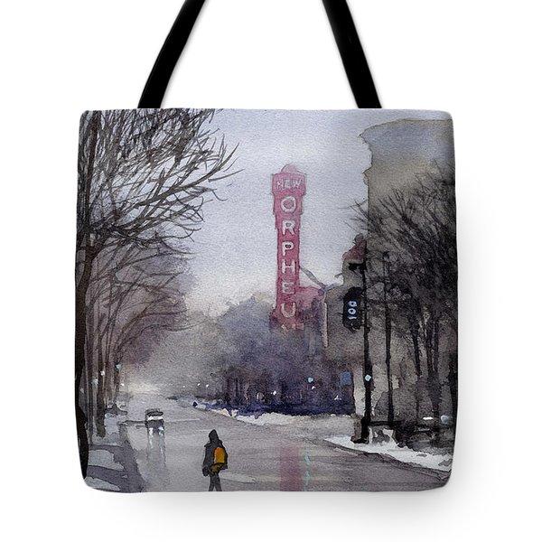 Misty Morning On Stae Street Tote Bag