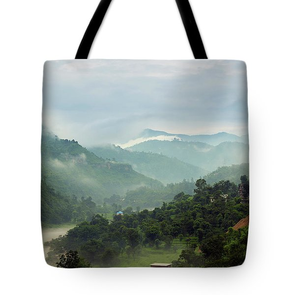 Tote Bag featuring the photograph Misty Mountains by Whitney Goodey