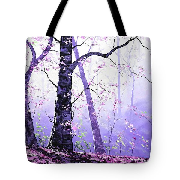 Misty Pink Trees Forest Tote Bag