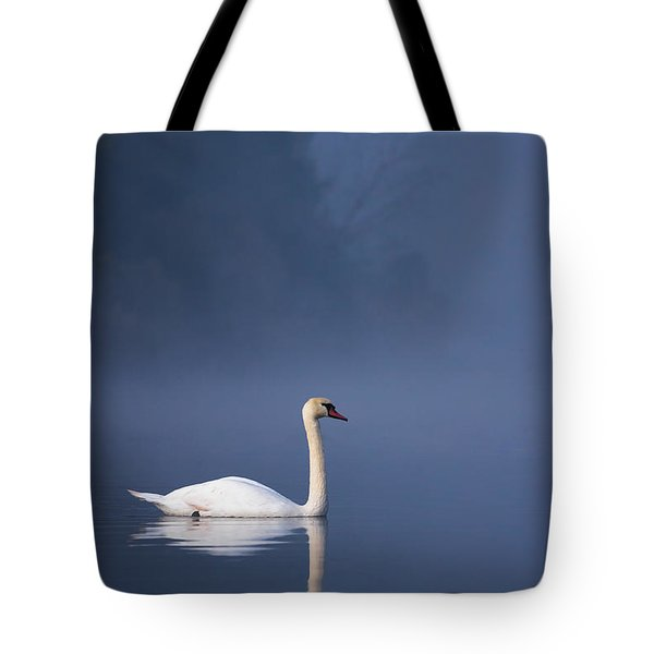 Tote Bag featuring the photograph Misty River Swan 2 by Davor Zerjav