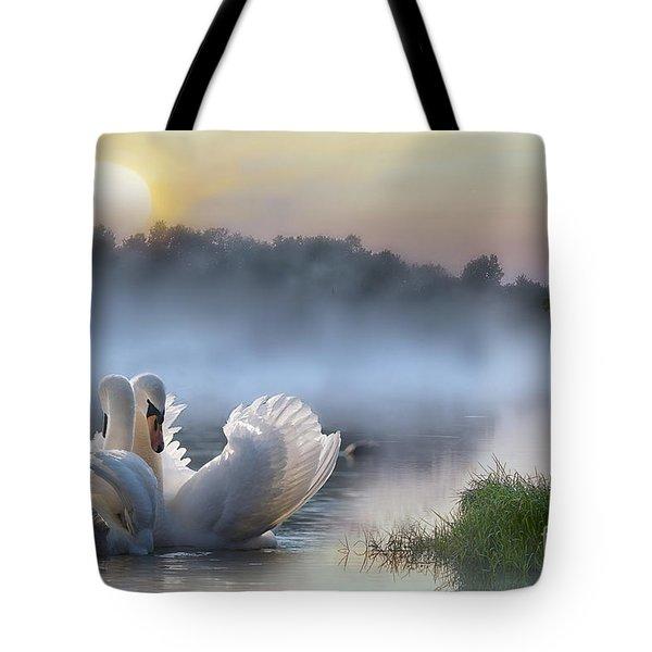 Misty Swan Lake Tote Bag