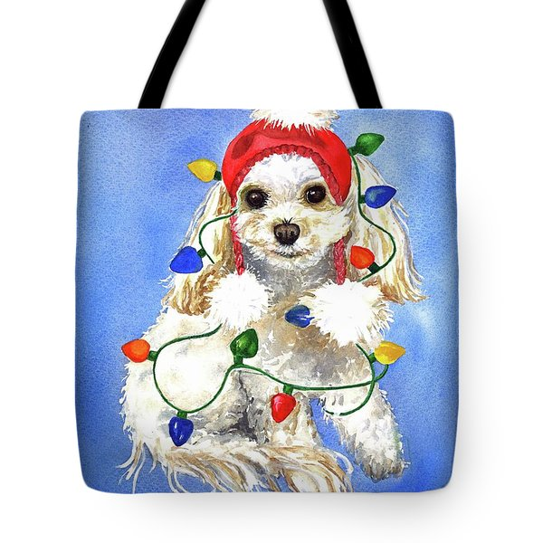 Tote Bag featuring the painting Mocha Merry And Bright by Diane Fujimoto