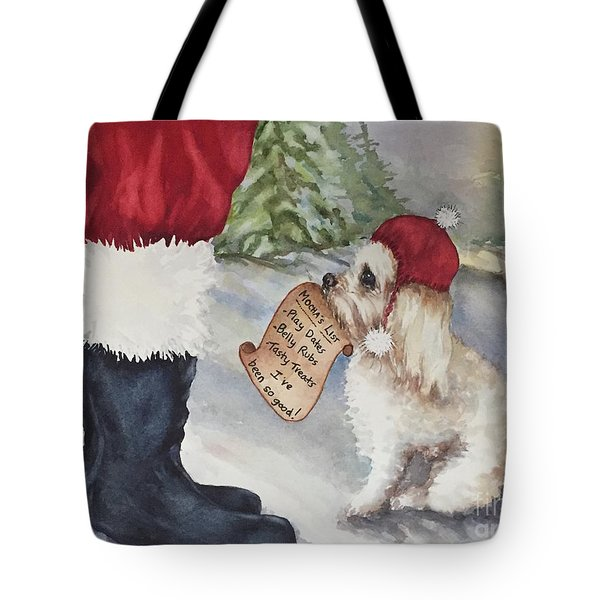 Tote Bag featuring the painting Mocha's List by Diane Fujimoto
