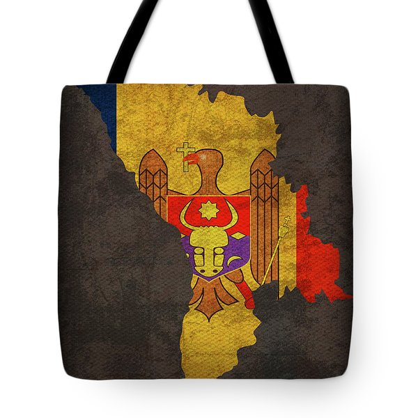 Moldova Country Flag Map Tote Bag
