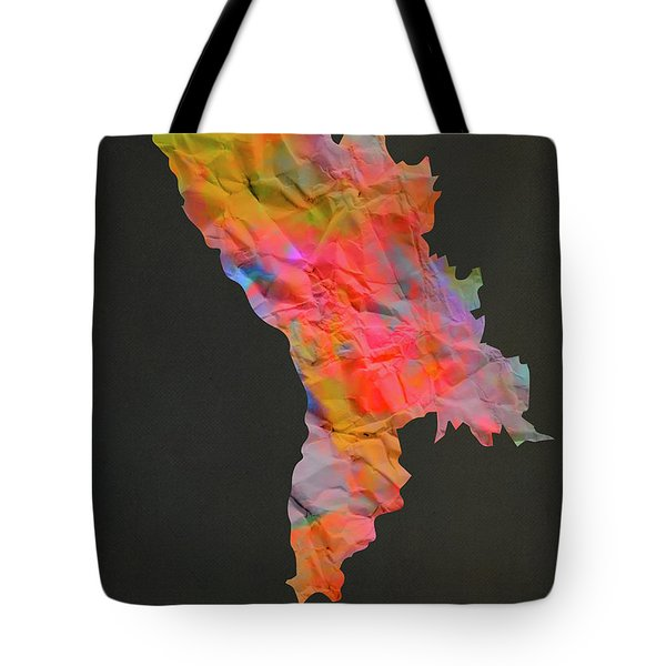 Moldova Tie Dye Country Map Tote Bag