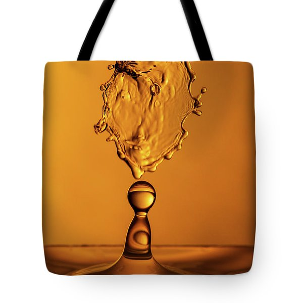 Tote Bag featuring the photograph Molten Caramel Water Drop Collision by SR Green