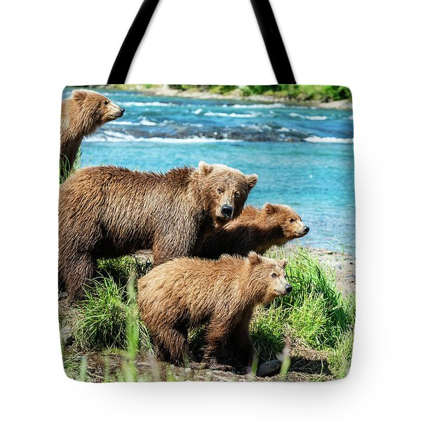 Mom And Her Three Cubs Tote Bag