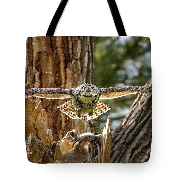 Momma Great Horned Owl Blasting Out Of The Nest Tote Bag
