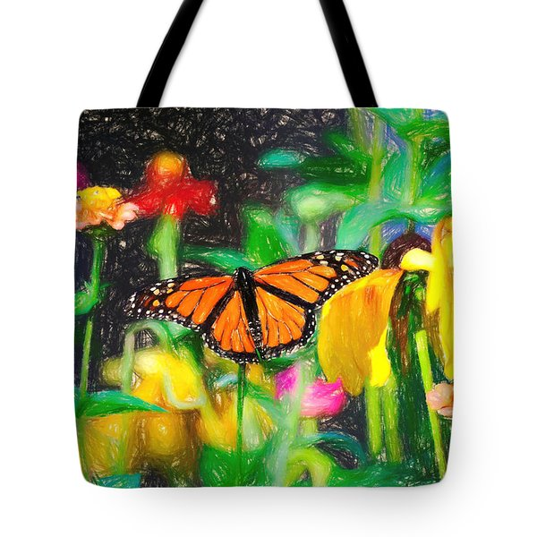 Monarch Butterfly Colored Pencil Tote Bag