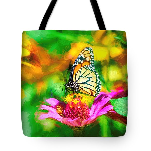 Monarch Butterfly Impasto Colorful Tote Bag