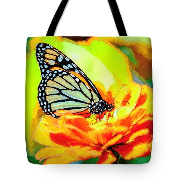 Monarch Butterfly Van Gogh Style Tote Bag