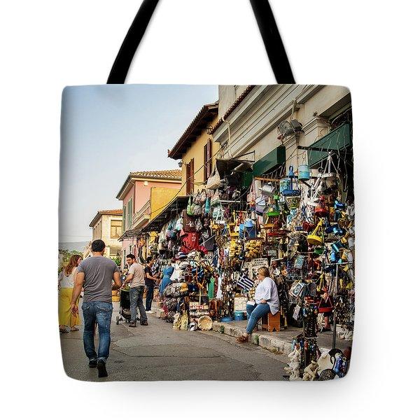 Tote Bag featuring the photograph Monastiraki  Colours by Juan Contreras