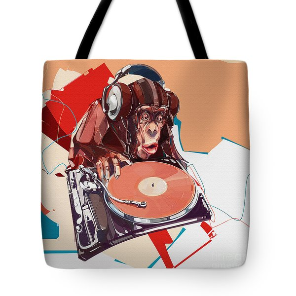 Monkey The Dj Tote Bag