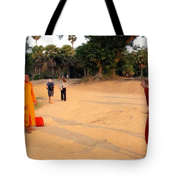 Monks At Ankgor Wat, Cambodia Tote Bag