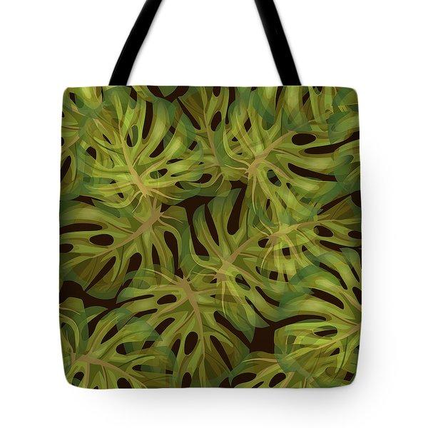 Monstera Leaf Pattern 3 - Tropical Leaf Pattern - Dark Green - Tropical, Botanical Pattern Design Tote Bag